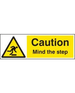 Caution mind the step Rigid Plastic 300x100