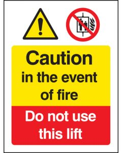 Caution in the event of fire - do not use this lift Photoluminescent  200x150