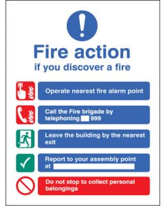 Fire action manual dial without lift Photoluminescent 300x250