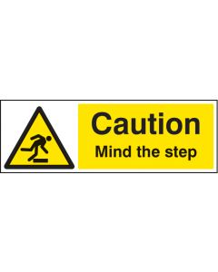 Caution mind the step Rigid Plastic 300x100