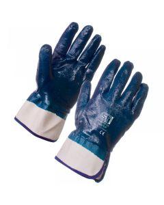 Blue Nitrile Coated Knit Wrist Glove