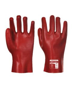 "Red PVC Gauntlet Glove 10.5"" - A427"