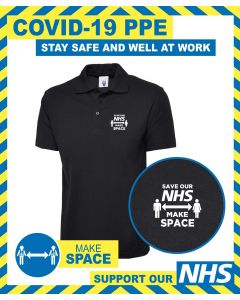POLO SHIRT WITH SOCIAL DISTANCING NHS MESSAGE
