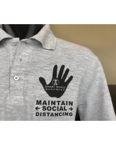 POLO SHIRT GREY WITH SOCIAL DISTANCING MESSAGE